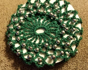 Green with silver bun cover.  SCA.  Wedding.  Prom.   Civil war.  Ready to ship