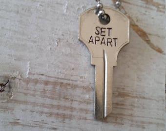 Hand Stamped Vintage Key Necklace Set Apart