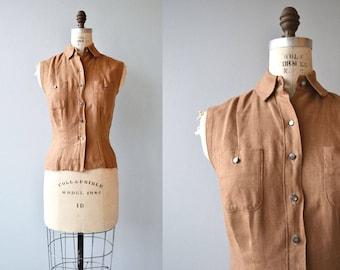 Clubhouse blouse | vintage 1950s blouse | linen 50s sleeveless blouse