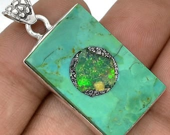 Sleeping Beauty Turquoise with Ethiopian Opal in matrix Inlay in Sterling Silver Tile Pendant