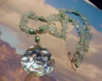 Abalone shell and Sea Glass chip bead necklace  16g19