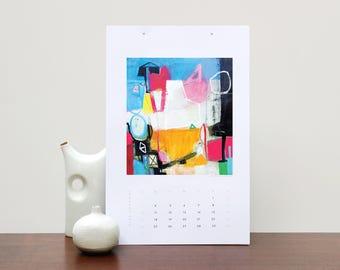 Wall Calendar, Colorful 2018 Calendar, Art Calendar, Abstract Calendar, Art Gift, 2018 Wall Calendar