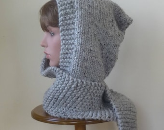 Hooded Scarf Chunky Knit Scoodie Teen Adult Warm Hooded Scarf - Grey Marble - Ready to Ship - Direct Checkout