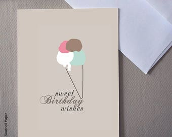 Ice cream birthday card, for him, for her, funny card, Ice cream cone, Sweet birthday