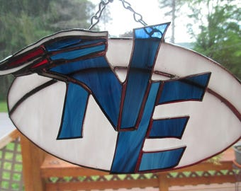 Stained Glass New England Patriots plaque