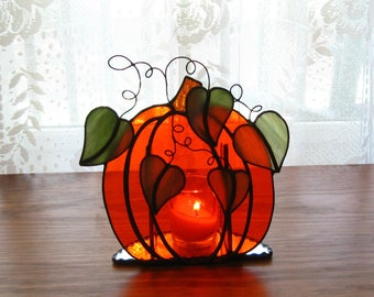 Stained Glass Pumpkin Tealight Holder Stained Glass Candle Holder Glass Pumpkin Candleholder Fall Stained Glass Decoration Halloween Decor