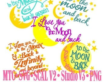 Quote Love You to the Moon and Back Again Bundle of 5 Embellishment Sign MTC SCAL SVG Cutting  Cut File