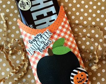 KIT Halloween Teacher Appreciation Black Apple Candy Bar Wrap and Tag / Hershey Candy Bar / Party Favor /  Candy Bar Wrappers / Candy Bar