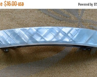 On sale Mother of Pearl Shell Hair Barrette, Silver tone, Made in France (N15)