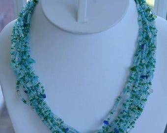 """On sale Pretty Vintage Blue, Green, Clear Glass Beaded Multi-Strand Necklace, Adjustable, 18""""-20"""" (AG13)"""