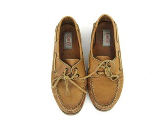 Levi's Deck Shoes Boat Shoes Brown leather Moccasins Preppy Lace Up Loafers BOHO GRUNGE loafers Vintage men's size 9