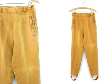 80s Stretchy Stirrup Jeans High Rise Skinny Legging Jeans 1980s Hipster Mustard Khaki Street Wear Punk Denim Women's Jeans Size 6 Small