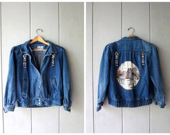 80s Blue Jean Jacket Slouchy Snap Up Denim Jacket PAINTED WOLF Coat with BEADS and Birds Jean Jacket Grunge Rocker Coat Womens Small Medium