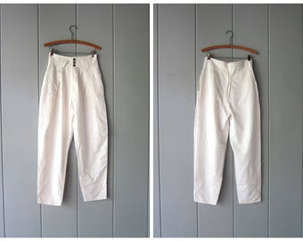 80s High Waist WHITE Pants Preppy White Cotton Rayon Tapered Leg Mom Pants Vintage Minimal Business Pants Hipster Grunge Jeans Womens Medium