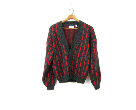 Slouchy 80s Retro Cardigan Sweater Red and Gray Boyfriend Mens Button Up Geometric Sweater Vintage Hipster size Small Medium
