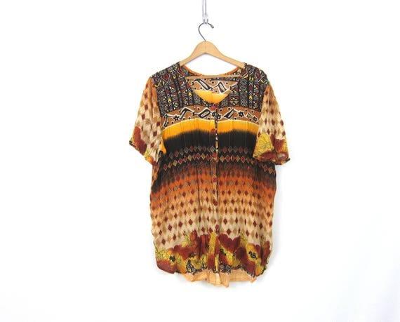 Thin Ethnic Print Gauze Tunic Top Sheer Button Down Top Long Shirt Dress Earthy Lightweight Thin Blouse Sheer Oversized Top Women Large XL