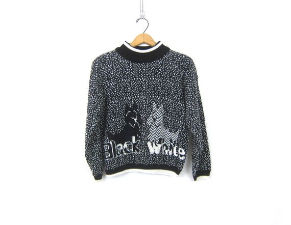 Retro Knit Sweater Vintage Black and White Dog Sweater Pullover Knit Top Hipster Pattern Cropped Mock Neck Sweater Womens Size Medium Large
