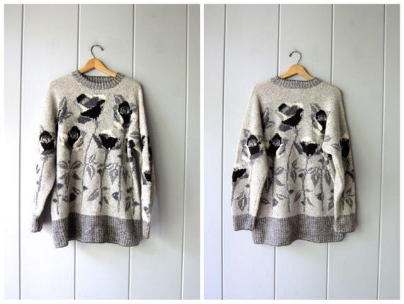 Vintage 90s Oversized Sweater LAURA ASHLEY Black Grey Wool Pullover Long Floral Wool Jumper Gray White Tunic Sweater Boho Womens Medium