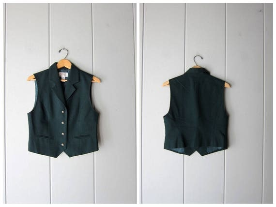 90s Dark Green Wool Vest Preppy Vintage Wool Vest Talbots Cropped Sleeveless Vest Button Up Modern Casual Top Womens XS Small size 4