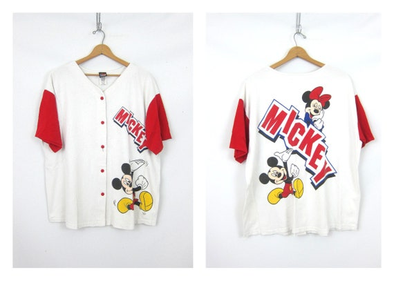 vintage oversized Mickey & Minnie Mouse t shirt Distressed Button Down Baseball Jersey Style Tee Baggy Cartoon Character Tshirt Womens 1X