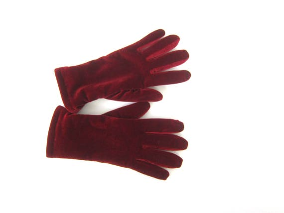 Red Velvet Stretch Gloves Dress Up Gloves Vintage Driving Gloves Warm Winter Thinsulate gloves Women's Size Medium Large