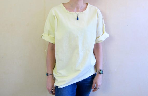 Oversized Boxy Top Vintage Pale Yellow TShirt Oversize Pullover Shirt Short Sleeve Cotton Tee 1980s Basic Shirt Minimal Norm Womens Large XL