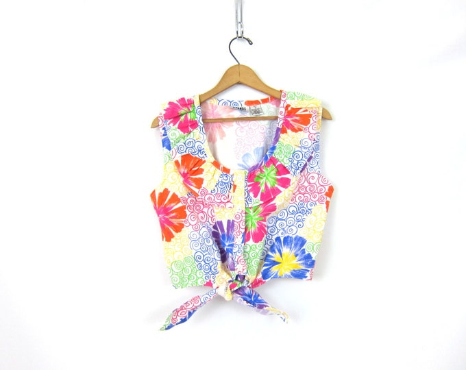vintage cropped GITANO Ruffle Tee Shirt Floral Print belly shirt Tie front top Button front Sleeveless T shirt Blouse Womens Medium