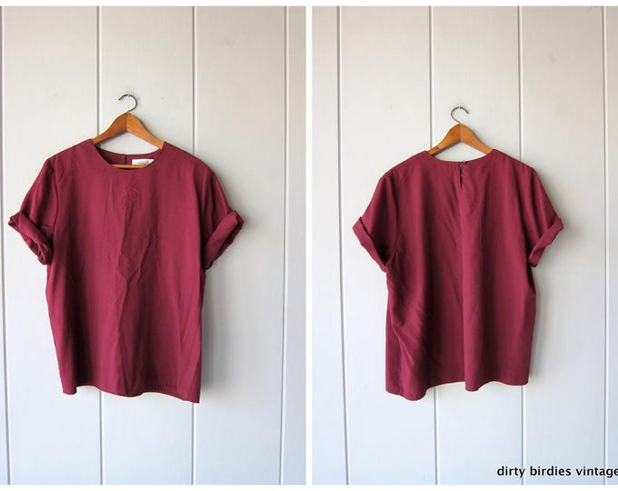 90s BOXY Top Short Sleeve Minimal Blouse Purple Plum 80s Shirt Loose Fit Drape Tee Vintage Simple Cut Basic Rayon Tee Shirt Womens Large