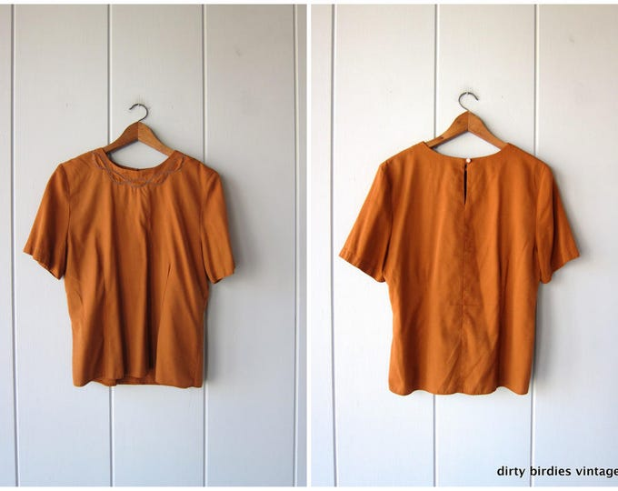 80s BOXY Top | Short Sleeve Minimal Blouse | Orange Copper 80s Shirt Loose Fit Tee Vintage Simple Cut Basic Rayon Shirt Womens Large