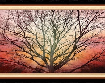 "24"" Fabric Panel - Artworks Digital Sunset Tree Silhouette  - Quilting Treasures"