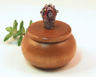 Tiny Wood Trinket Box with Ruby Lampwork Glass Victorian Bauble Knob/Finial