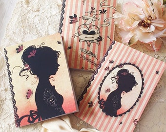 "Set of 3 notebooks - notebook sets - notebook trio - victorian - stripe - ""Tattoo Girl"