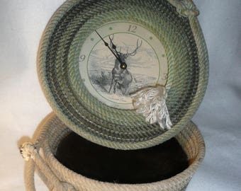 Collectable Vintage Lassor Rope Clock and Bowl with Buffalo Hide