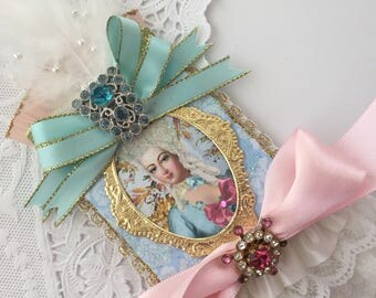 Romantic Marie Antoinette ACEO ATC Trading Card Original Art Card Mixed Media ATC Baroque Style