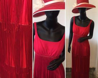 Vtg 20s style fringed red tank dress   size small /medium