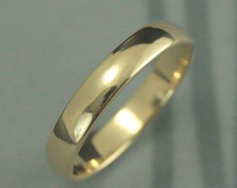 Traditional Wedding Ring~14K Gold Wedding Band~Plain Jane 4mm by 1.5mm~Men's Wedding Band~Women's Wedding Ring~Rounded Ring~Half Round Band
