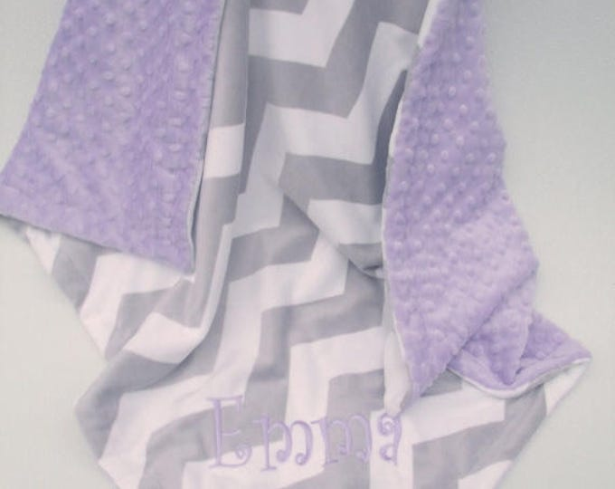 SALE Lavender minky dot and gray chevron minky baby blanket Can Be Personalized