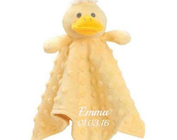 SALE Personalized Yellow Duck Minky Security Blanket, Personalized Security Blanket, Embroidered Baby Keepsake