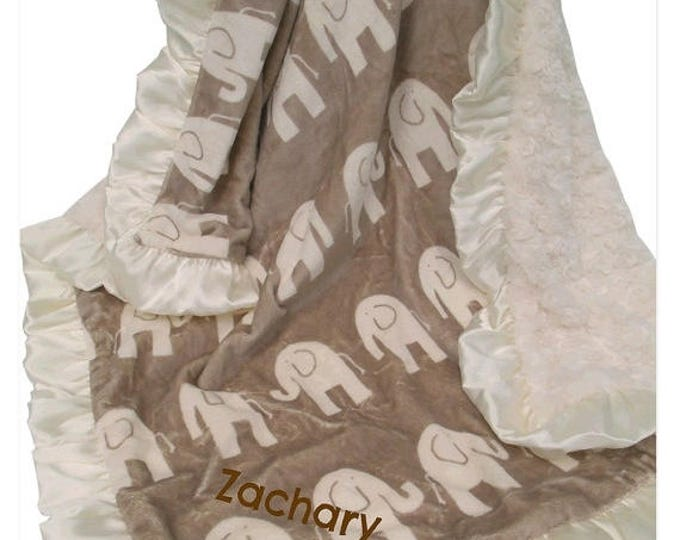 SALE Brown Elephant and Cream Ruffle Minky Baby Blanket, 3 sizes Can Be Personalized