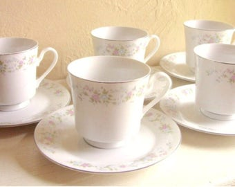 SALE - 12 Piece Set of Floral Tea Cups Saucers Matching Pink and Blue Flowers - Serving for 6