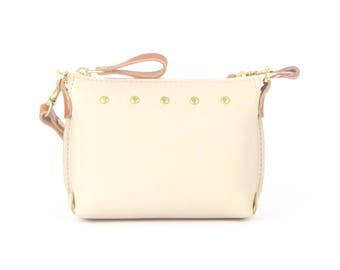 Ivory Leather Mini Bag ~ Beige Leather Wristlet