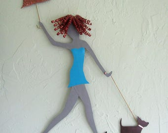 Metal wall art Lady Walking Dog wall decor - upcycled metal wall sculpture poodles dachshunds chihuahua black lab  24 x 20