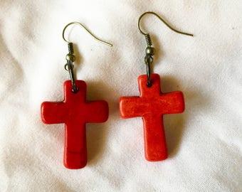 Simple Red Howlite Stone Cross Earrings