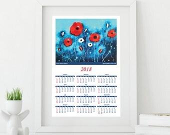 2018 Calendar, Flower Calendar, Wall Calendar, 12 Months Calendar, Fine Art Calendar, Floral Calendar, Nature Calendar, Christmas Gift
