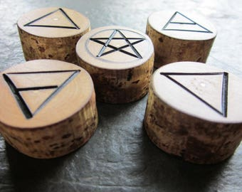 Natural Wood Element Symbols - Hazel - Portable Pocket Altar.