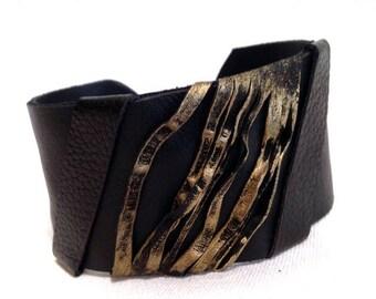 40% OFF SALE Women's Leather Bracelet Elegant Cuff Wristband Fashion Jewelry Wide Black Bangle