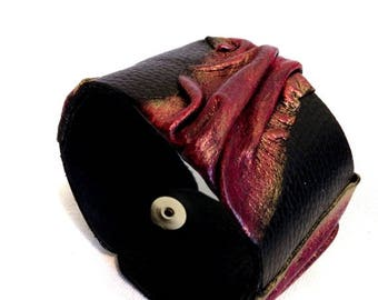 50% OFF SALE Women's leather bracelet  Cuff bracelet Leather jewelry Wide fashion wristband Leather jewelry Statement jewelry
