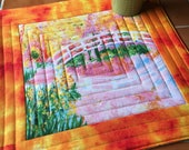 Monet - Mug Rug or Candle Mat  Over-sized Coaster / sunrise sunset / gift for her / quilted / bridge / painting / impressionist art / flower