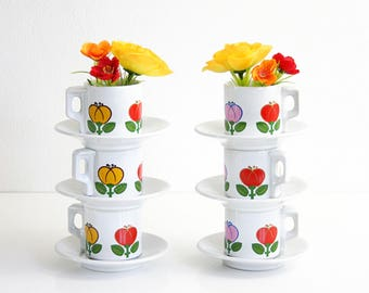 Vintage Espresso Cups and Saucers / Mid Century Tulip Demitasse Cups by ACF Italy / Mid Century Milk Glass Espresso Cups