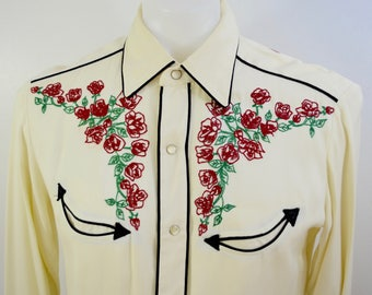 reserved for Ellie H BAR C California Ranchwear western shirt long sleeve USA size 15 smile pockets rose embroidered